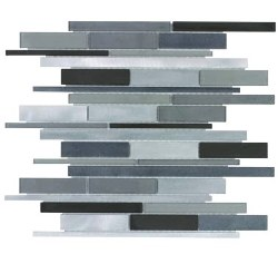 "Metal Glass Metropolitan Grey Mosaic on 12X15"" Sheet"