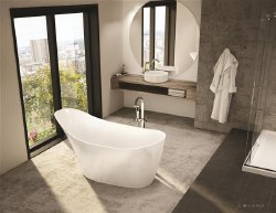 Aria Molto White Freestanding Tub 64x31, with Brushed Nickel Drain & Overflow