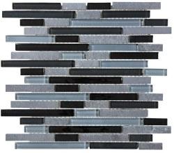 Bliss Black Timber Random Linear Mosaic, per sheet