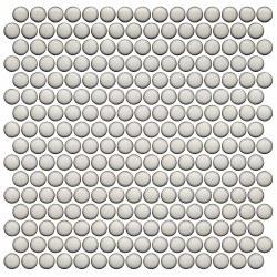 CC BG Pearl White Penny Round Mosaics on 12X12 Sheet, UFCC125-12M