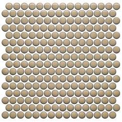 CC BG Sand Penny Round Mosaics on 12X12 Sheet, UFCC123-12M