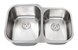 "Universe ORION 18 Gauge 32"" Undermount Double Bowl, Large Left,  Kitchen Sink in Stainless"