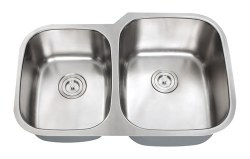 "Universe ORION REV 18 Gauge 32"" Undermount Double Bowl, Large Right,  Kitchen Sink in Stainless"