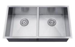 Undermount Double Bowl Kitchen Sink, 32x18, Zero Radius Edges, 18 gauge