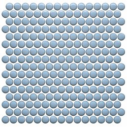 CC BG Sky Blue Penny Round Mosaics on 12X12 Sheet, UFCC124-12M