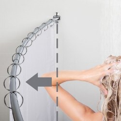 """Curved Shower Rod for 60-72"""" Openings in Polished Chrome"""
