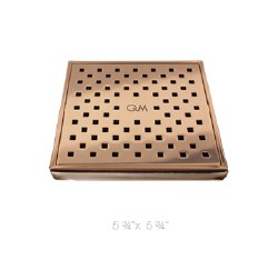 "Lagos Tulia Square Shower Drain 5-3/4"", in Bronze Finish"