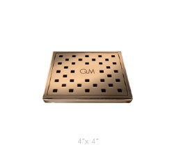 "Lagos Tulia Square Shower Drain 4"", in Bronze Finish"
