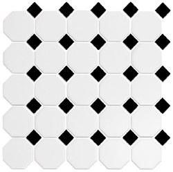 "CC Snow White & Black Matte Octagonal Mosaic on 12X12"" Sheet"