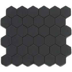 CC Black Matte 2X2 Hexagon Mosaics on 12X12 Sheet, UFCC103-12M