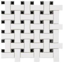 """CC White & Black Matte Basketweave Mosaic on 12X12"""" Sheet"""
