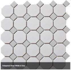 CC White/Grey 2X2 Octagonal Mosaics on 12X12 Sheet, UFCC112-12M