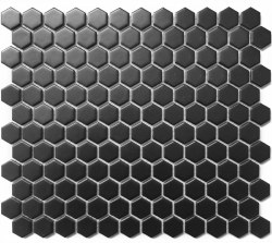 CC Black Matte 1X1 Hexagon Mosaics on 12X12 Sheet, UFCC114-12M