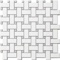 CC White/Grey Matte Basketweave Mosaics on 12X12 Sheet, UFCC115-12M