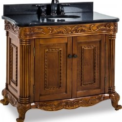"Burled Ornate 39"" Vanity in Walnut with Black Marble Top and Sink"