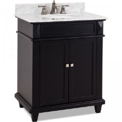 Douglas Black Vanity, 30X22, with Carrara Top