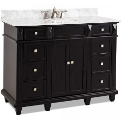 Douglas Black Double Vanity, 60X22, with Carrara Top