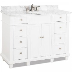 Douglas White Vanity, 48X22, with Carrara Top