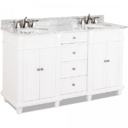 Douglas White Double Vanity, 60X22, with Carrara Top