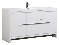 "Granada Novo 60"" Single Sink Vanity Set in White"