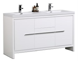 "Granada Novo 60"" Double Sink Vanity Set in White"