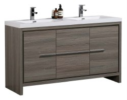 "Granada Novo 60"" Double Sink Vanity Set in Maple Grey"