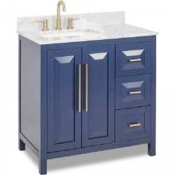 "Cade Contempo by Jeffrey Alexander 36"" in Hale Blue with Preassembled Top and Bowl"