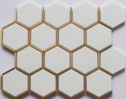 Brass and White Hex Mosaic on 12X12 Sheet