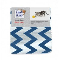 Foam Litter Mat, Blue Chevron