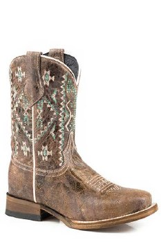 Kids Sq Toe Western Boot 3