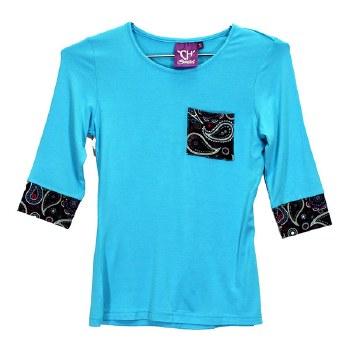 Girls Turquoise Pocket Tee MED