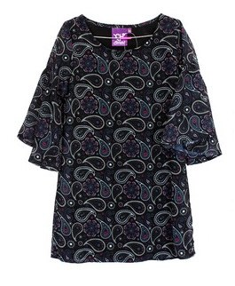 Girls Paisley Print Dress Black XL
