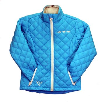Girls Horses Quilted Jkt Turq XS