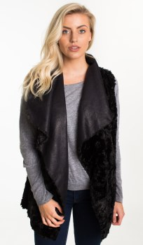 Reversible Fur/Faux Sherpa Black MED