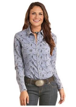 Lds Skull Western Shirt MED