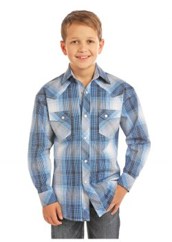 Boys R&R Plaid Blue MED