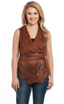 Faux Leather Tie Vest Acorn MED