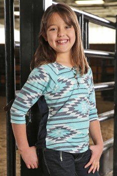 Girls 3/4 Sleeve Henley XL