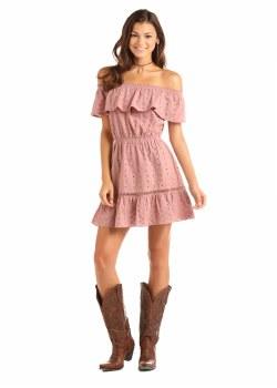 R&R Ruffle Eyelet Dress Blush LG