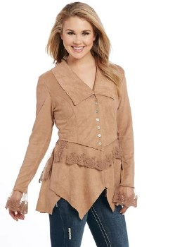 Suede Jacket w/Lace Trim Sandstone SML
