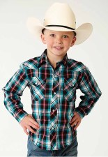 Boys Plaid Snap Turquoise MED