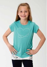 Girls Heart w/Lace Trim Blue XL