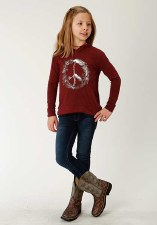 Girls Hooded Tee Wine LG