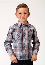 Boys Grey Diamond Plaid MED