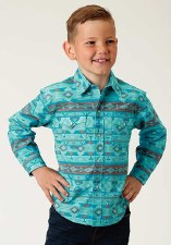 Boys Aztec Print Snap Blue MED