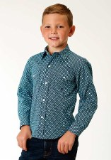 Boys Prarie Pattern Snap Blue LG
