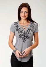 Criss Cross V Neck Grey MED