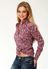 Floral Rayon Snap Red XL