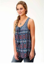 Floral Denim Swing Tank MED