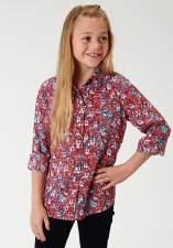 Girls Ditzy Floral Pink Western Shirt XL